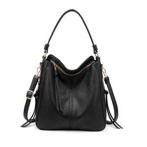 Hobo Black Leather Purse and Handbag with Tassel